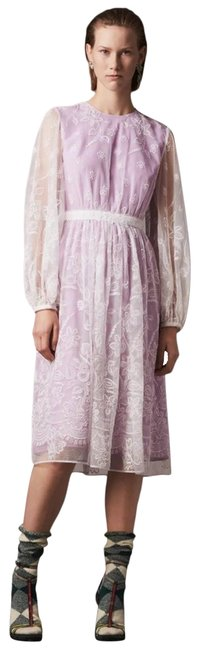 Item - Purple Puff-sleeve Embroidered Mid-length Cocktail Dress Size 12 (L)