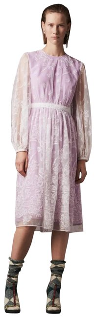 Item - Purple Puff-sleeve Embroidered Mid-length Cocktail Dress Size 6 (S)