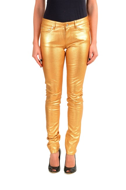 Item - Gold Women's Coated Skinny Jeans Size 28 (4, S)