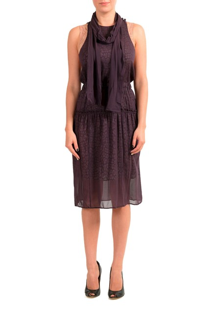 Item - Purple Women's Sleeveless A-line with Scarf Mid-length Short Casual Dress Size 4 (S)