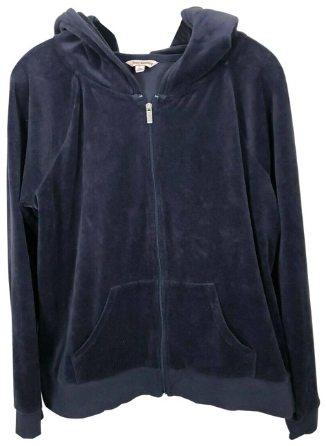 Item - Blue Lg Velour Navy Track Zip Up Activewear Outerwear Size 12 (L)