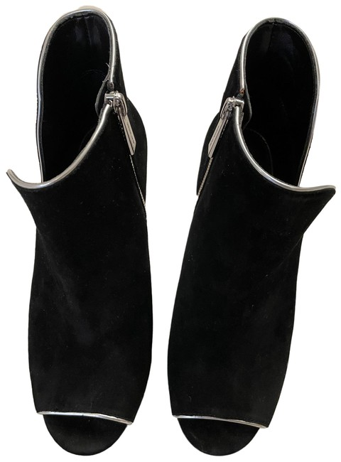 Item - Black with Silver Piping Peep Toe Boots/Booties Size US 7 Regular (M, B)