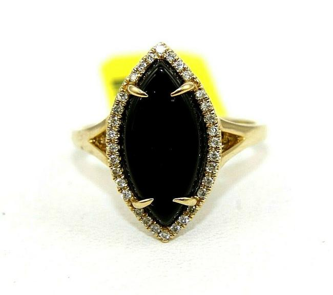 Item - Black Natural Marquise Onyx & Diamond Solitaire Lady's 14k Yellow Gold Ring