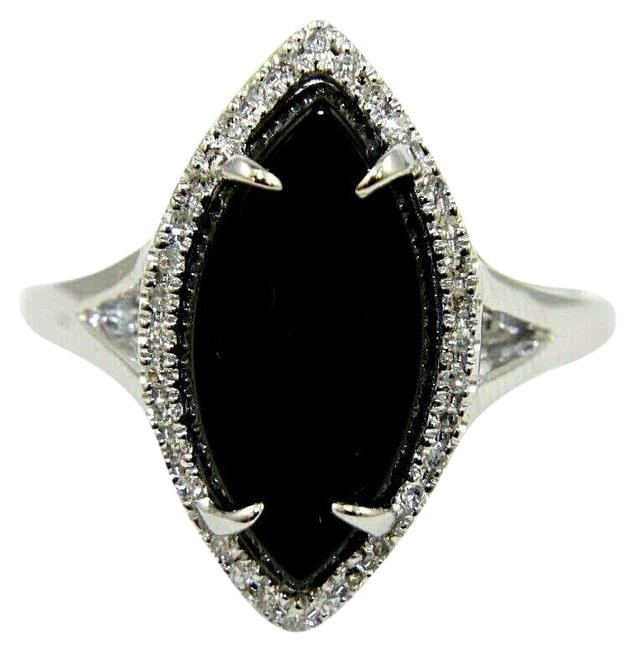 Item - Black Natural Marquise Onyx & Diamond Halo Solitaire Lady's 14k White G Ring