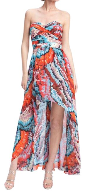 Item - Multicolored Feather Print Strapless Chiffon High Long Night Out Dress Size 12 (L)