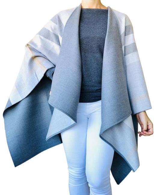Item - Light Gray Charlotte Reversible Solid Check Wool Merino Poncho/Cape Size OS (one size)