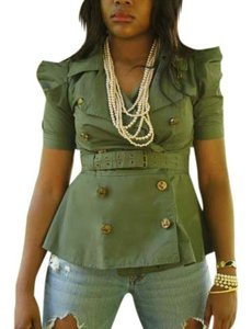 Forever 21 Army Style Peplum Button Down Shirt dark green