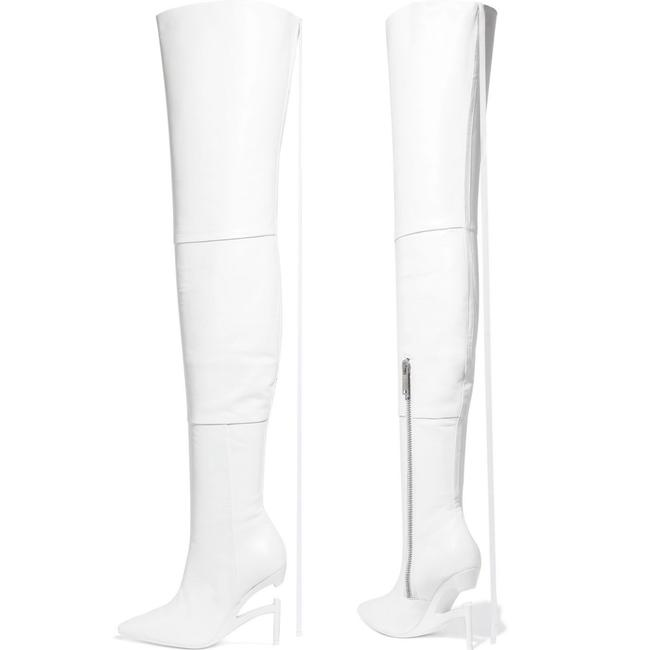 Item - White Leather Over The Knee Thigh High Boots/Booties Size US 8 Regular (M, B)