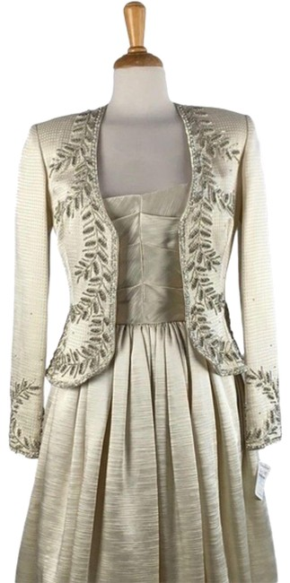 Item - Cream Beaded Silk with Jacket Long Casual Maxi Dress Size 4 (S)