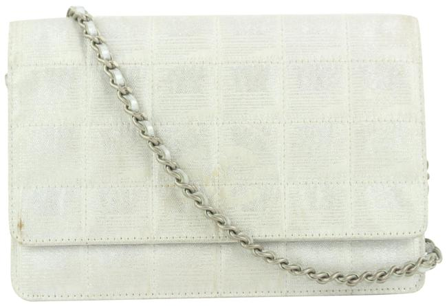 Item - Wallet on Chain Line Woc 2ccs114 Silver Canvas Cross Body Bag