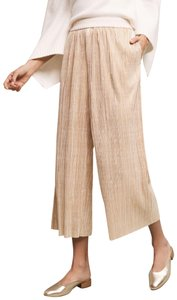 Anthropologie Pleated Metallic Shimmer Capri/Cropped Pants Gold