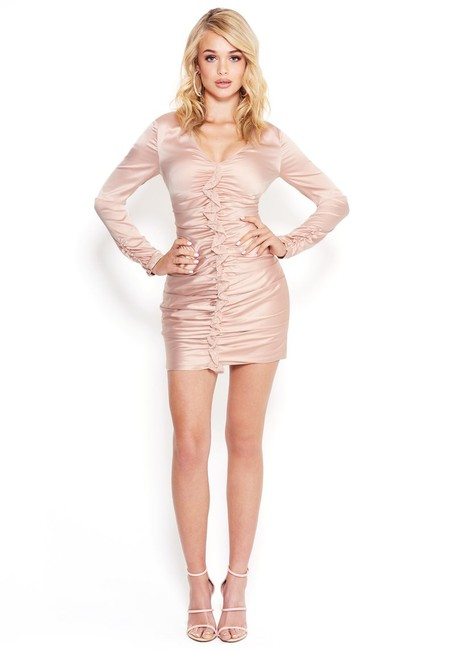 Item - Pink Lace Front Ruffle Fitted Satiny V-neck Long Sleeve 0 Short Cocktail Dress Size 0 (XS)