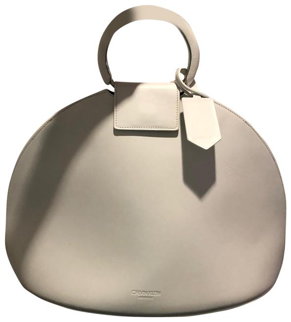 Item - Top Handle Bag Large Dome White Leather Satchel