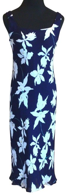 Item - Navy White Silk Slip Long Casual Maxi Dress Size 2 (XS)