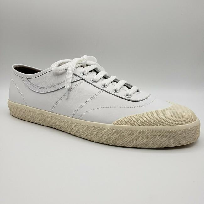 Item - White W Leather Lace Up Sneaker W/Off Rubber Sole Us 12d/11 Eu Shoes