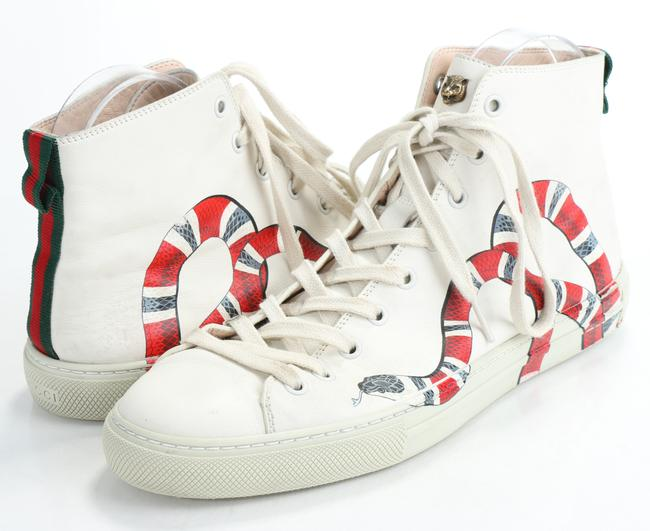 Item - Cream Leather High 'kingsnake' Sneakers Shoes