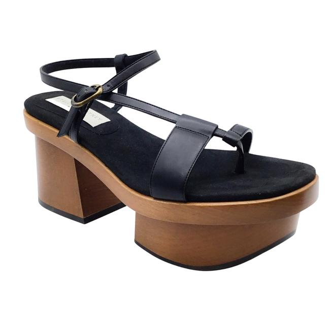 Item - Black Faux Leather and Wooden Platforms Size EU 37.5 (Approx. US 7.5) Regular (M, B)