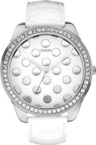 Guess Guess W0258L2 Women's Silver Analog Watch With White Dotty Dial
