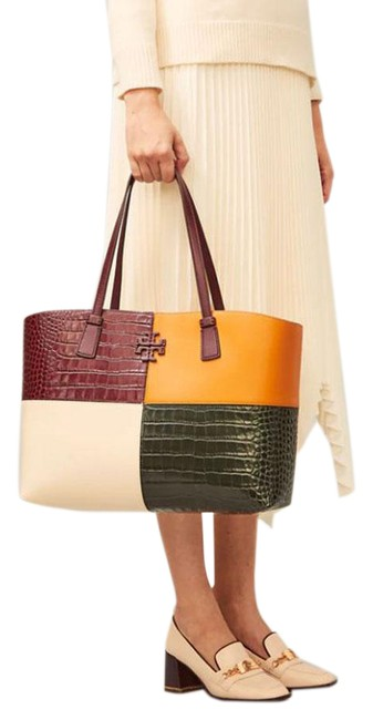 Item - Bag Mcgraw Embossed Croc Color Block Claret/Multi Leather Tote