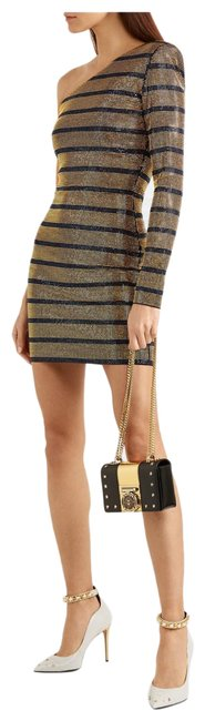 Item - Navy and Gold Crystal Embellished One Sleeve Short Cocktail Dress Size 4 (S)