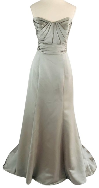 Item - Silver Long with Train Corset Formal Dress Size 6 (S)