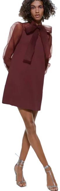 Item - Burgundy Red Contrasting Organza Tie Neck Bow Short Night Out Dress Size 6 (S)