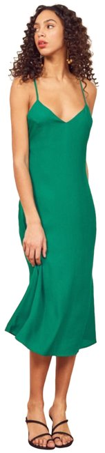 Item - Green In Serpentine Mid-length Night Out Dress Size 2 (XS)