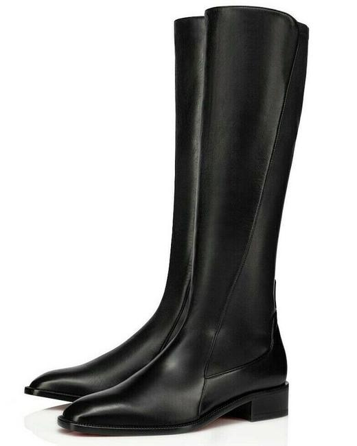 Item - Black Tagastretch Flat Nappa Stretch Leather Pull On Knee High Heel Boots/Booties Size EU 41 (Approx. US 11) Regular (M, B)