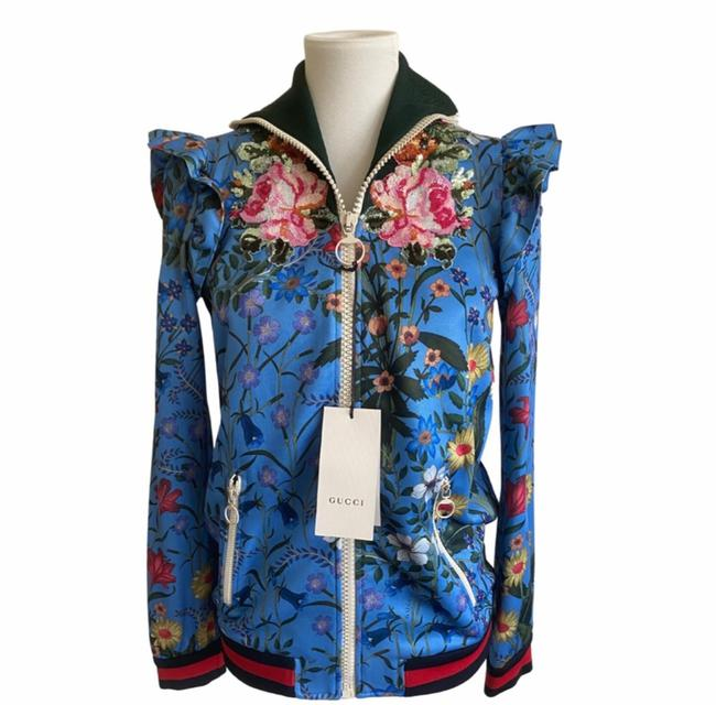 Item - Blue Floral Sequined Activewear Outerwear Size 8 (M)