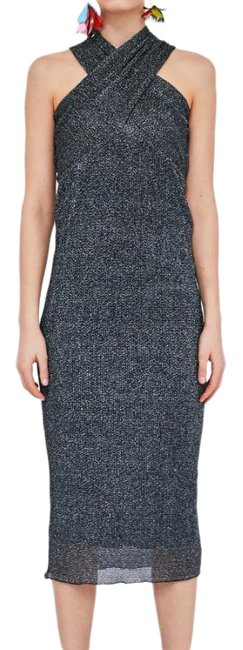 Item - Silver Shimmery Multi Way Knit Midi Mid-length Cocktail Dress Size 6 (S)