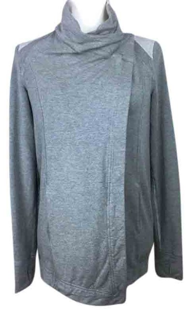 Item - Gray Jersey Two Toned Soft Knit Activewear Outerwear Size 4 (S)