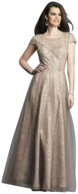 Item - Taupe Nude A7168 Beaded Sequins Short Sleeve V Back Prom Ball Long Formal Dress Size 8 (M)
