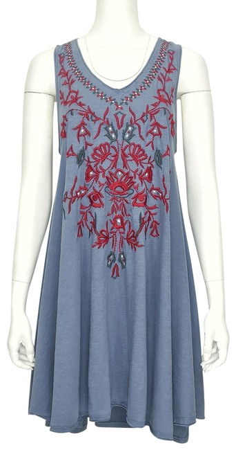 Item - Slate Blue ~nwt~ 'ella' Embroidered Cotton Slub Racer Back High-low A-line Short Casual Dress Size 6 (S)