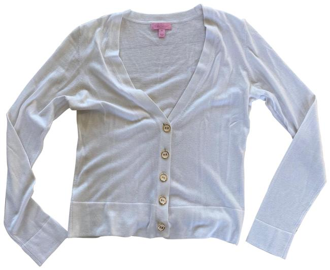 Item - White and Gold Like New with Buttons M Cardigan Size 8 (M)