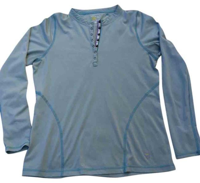 Item - Blue S Button Long Sleeve Henley Layer Hiking Tee Shirt Size 4 (S)