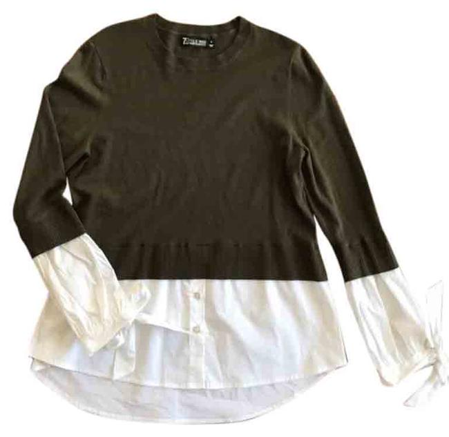 Item - 7th Avenue Co Layered Olive Green and White Sweater