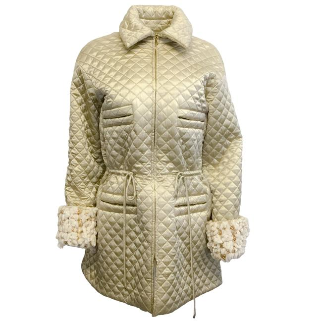 Item - Gold Quilted Satin Parka Coat Size 6 (S)