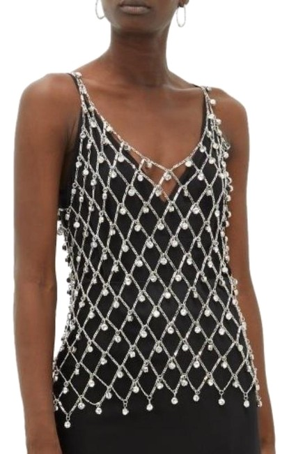 Item - Silver Vintage Chainmail Beaded Backless Sleeveless Tunic Size 6 (S)