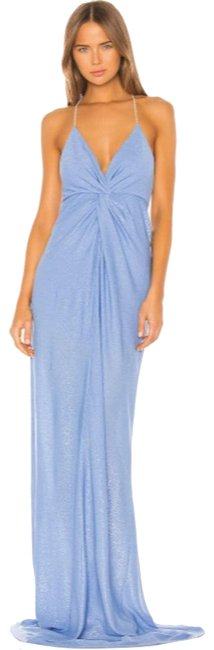 Mason by Michelle Mason Blue Twist Gown with Crystal Straps S Formal Dress Size 4 (S) Mason by Michelle Mason Blue Twist Gown with Crystal Straps S Formal Dress Size 4 (S) Image 1