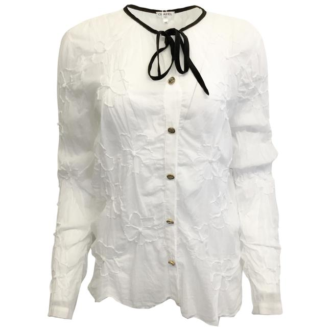 Item - White Sheer Floral Cotton Blouse Size 12 (L)