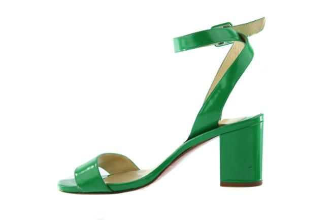 Item - Green Patent Leather Block Sandals Size US 5 Regular (M, B)
