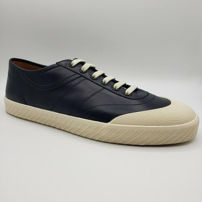 Item - Navy Blue W Leather Lace Up Sneaker W/Off White Rubber Sole Us 11.5d / 10.5 Shoes