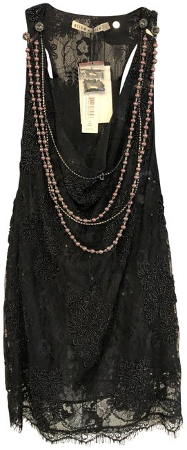 Item - Black Sheer Lace Sequin Accent Blouse Style#cc809l32049 Tank Top/Cami Size 8 (M)