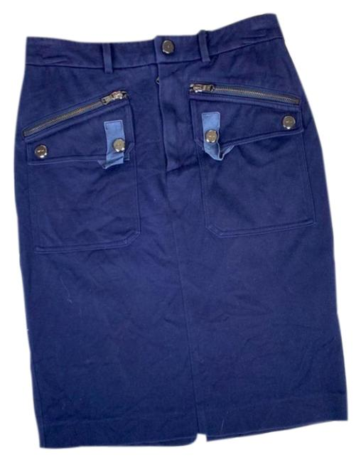 Item - Blue Stretch Pencil with Zipper & Suede Detail Skirt Size 0 (XS, 25)