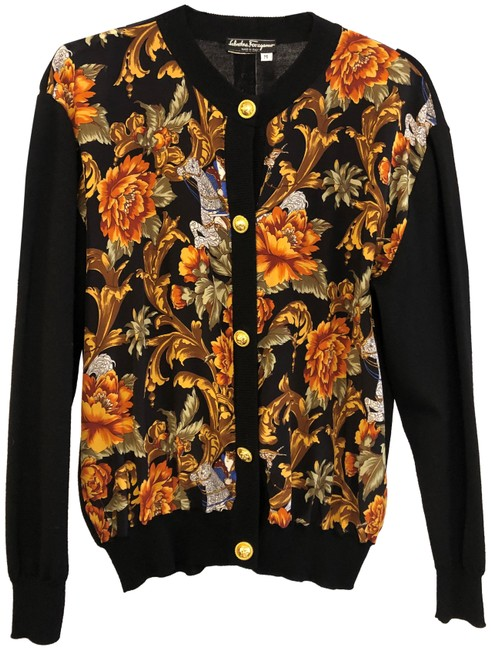 Item - Black Multi Color W Sweater W/ Silk Floral Print Front Cardigan Size 8 (M)