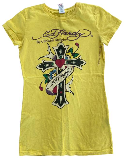 Item - Yellow White Multicolored Small Cross Tee Shirt Size 4 (S)