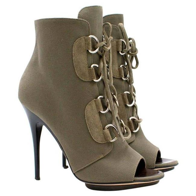 Item - Green Canvas Open Toe Lace Up Boots/Booties Size EU 35.5 (Approx. US 5.5) Regular (M, B)
