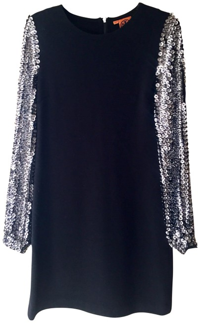 Item - Black Silver Sequin Sleeve Cepheid Short Night Out Dress Size 4 (S)