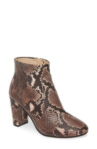 Item - Brown Sanstan Snake Print Leather Taupe Boots/Booties
