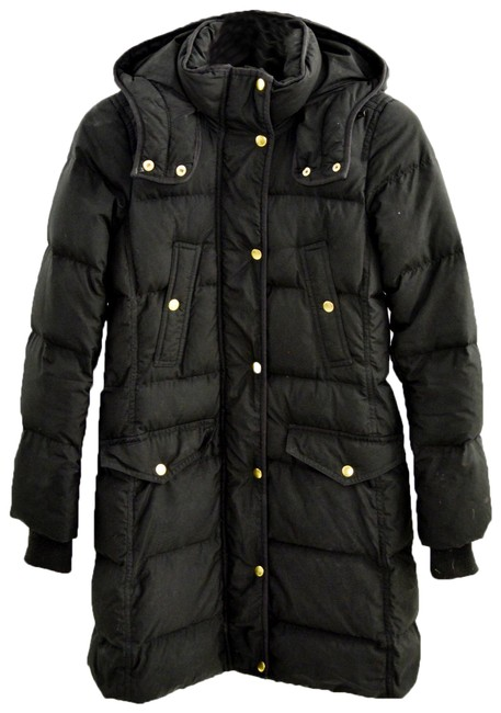 Item - Black/ Gold Down Hooded Puffer #200-5 Coat Size 2 (XS)